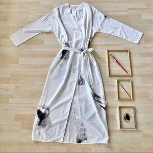 Oak + Fort long white watercolour maxi dress Large